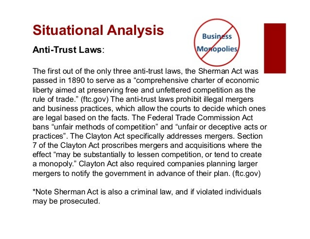 an analysis of sherman anti trust act The sherman antitrust act (sherman act,july 2, 1890, ch 647, 26 stat 209, 15 usc § 1–7) requires the united states federal government to investigate and.