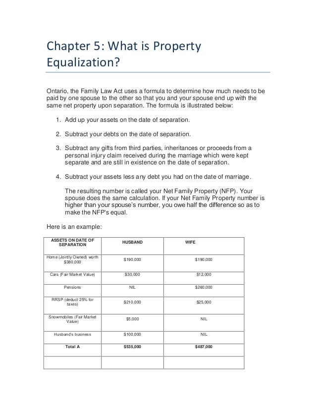 What is equalization payment in divorce