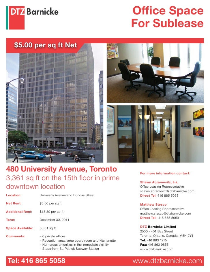 Office Space                                                                         For Sublease      $5.00 per sq ft Net...