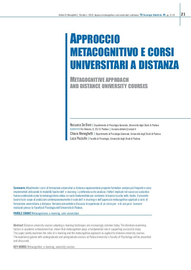 De Beni R, Meneghetti C., Pezzullo L. (2010). Approccio metacognitivo e corsi universitari a adistanza. TD-Tecnologie Dida...