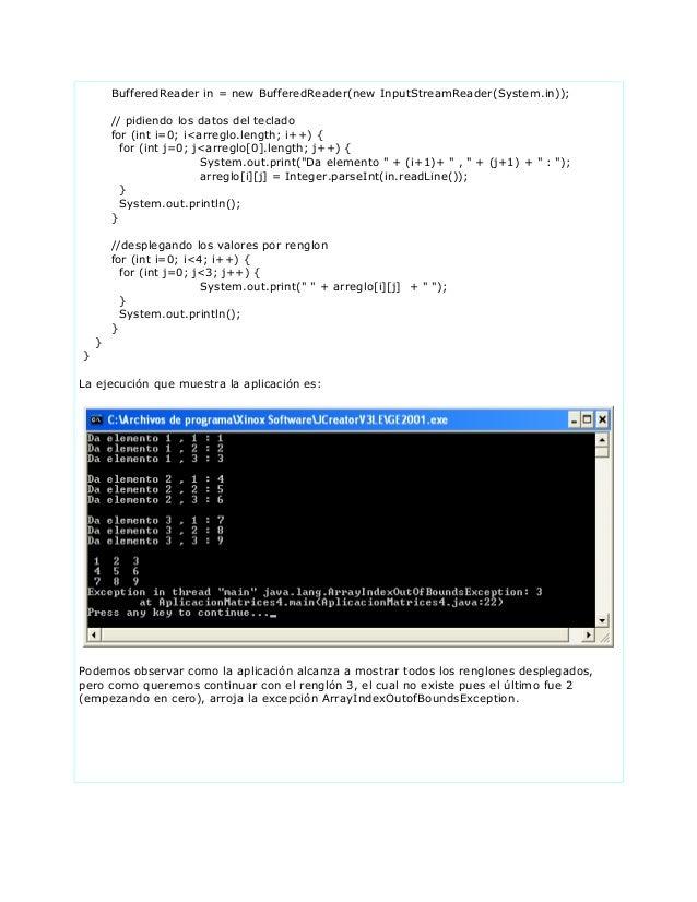 BufferedReader in = new BufferedReader(new InputStreamReader(System.in));// pidiendo los datos del tecladofor (int i=0; i<...