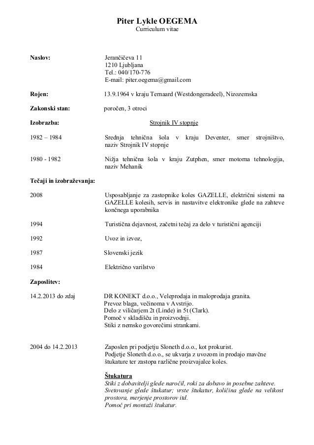 curriculum vitae slovenski