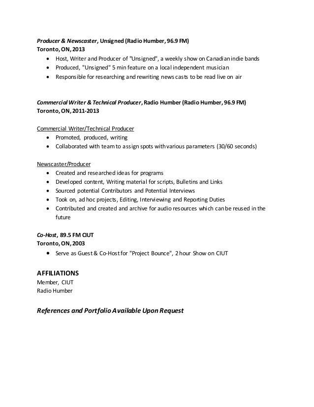 Radio Resume 2016