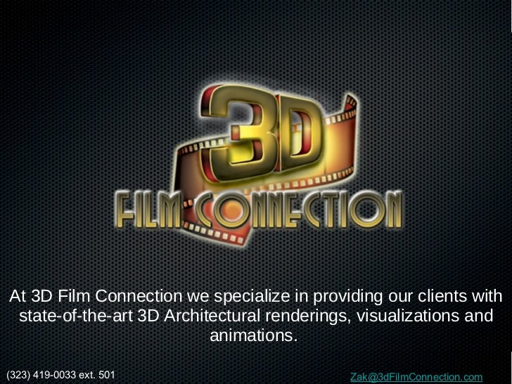 At 3D Film Connection we specialize in providing our clients with state-of-the-art 3D Architectural renderings, visualizat...