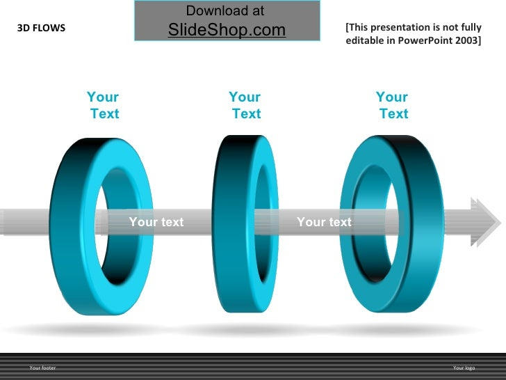 Your  Text Your text Your text 3D FLOWS Your footer Your logo [This presentation is not fully editable in PowerPoint 2003]...