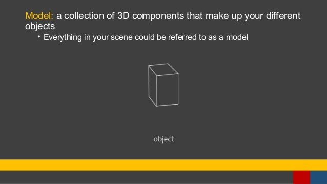 Model: a collection of 3D components that make up your different objects • Everything in your scene could be referred to a...