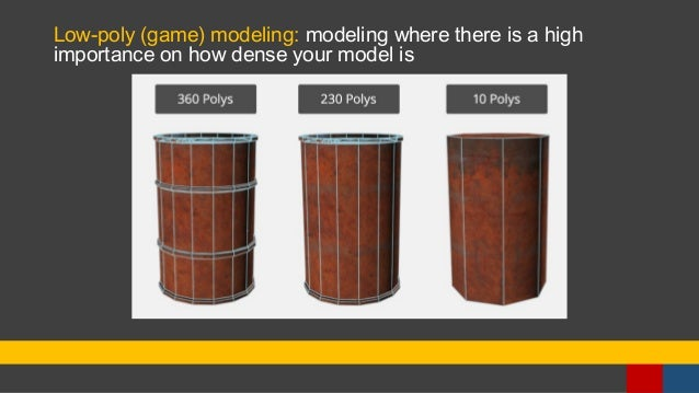 Low-poly (game) modeling: modeling where there is a high importance on how dense your model is