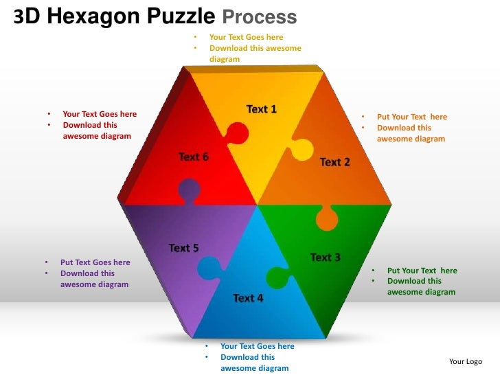 3d hexagon puzzle process powerpoint templates