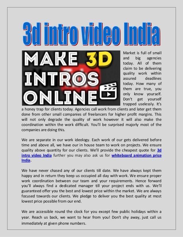 3d intro video india