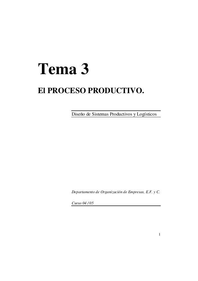 1 Tema 3 El PROCESO PRODUCTIVO. Diseño de Sistemas Productivos y Logísticos Departamento de Organización de Empresas, E.F....