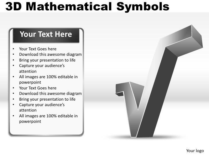 3d Mathematical Symbols Powerpoint Presentation Templates