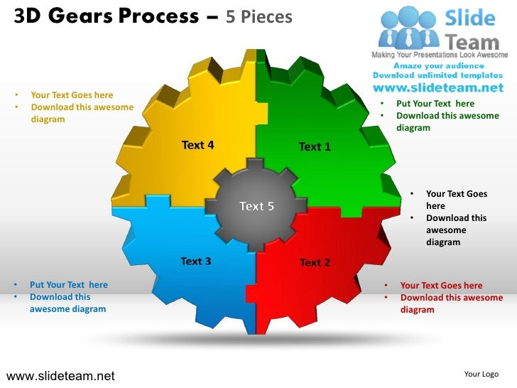 3D Gears Process 5 Pieces O Your Text Goes Here Download This Awesome
