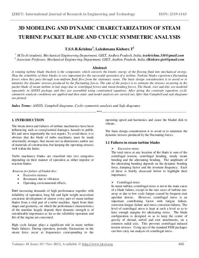 3 D Modeling And Dynamic Charectarization Of Steam Turbine Packet Bla