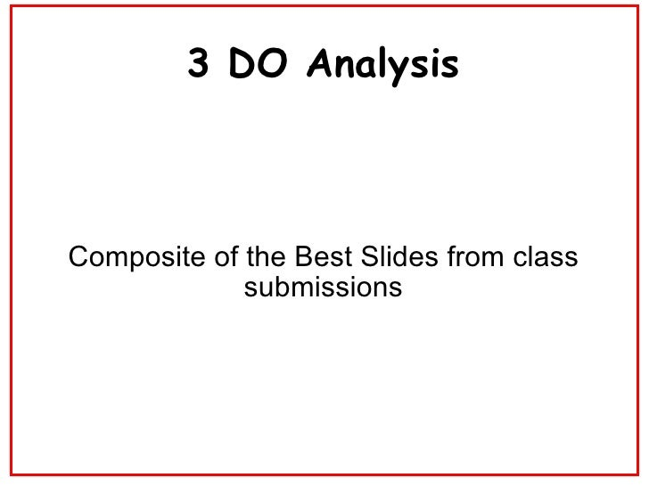 3 DO Analysis Composite of the Best Slides from class submissions