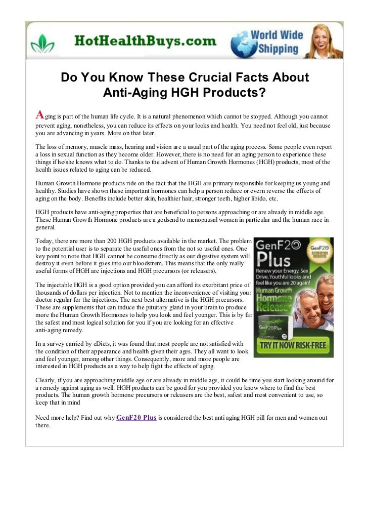 Do You Know These Crucial Facts About               Anti-Aging HGH Products?Aging is part of the human life cycle. It is a...