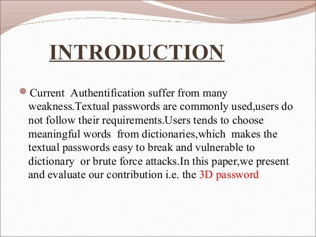 3d Password Seminar Pdf