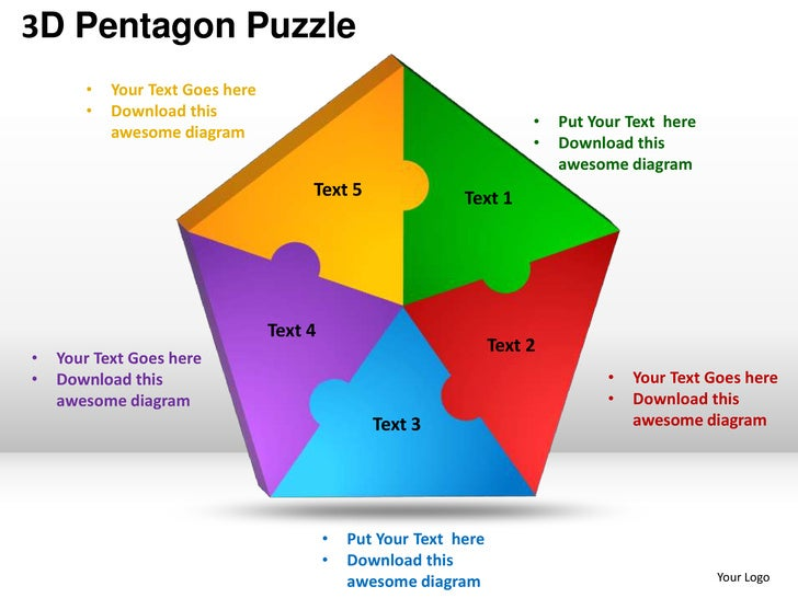 D Pentagon Puzzle Process Powerpoint Templates