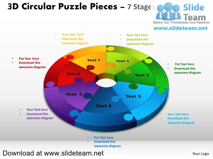 3D Circular Puzzle Pieces – 7 Stages                            •   Your Text here                  •   Your Text here    ...