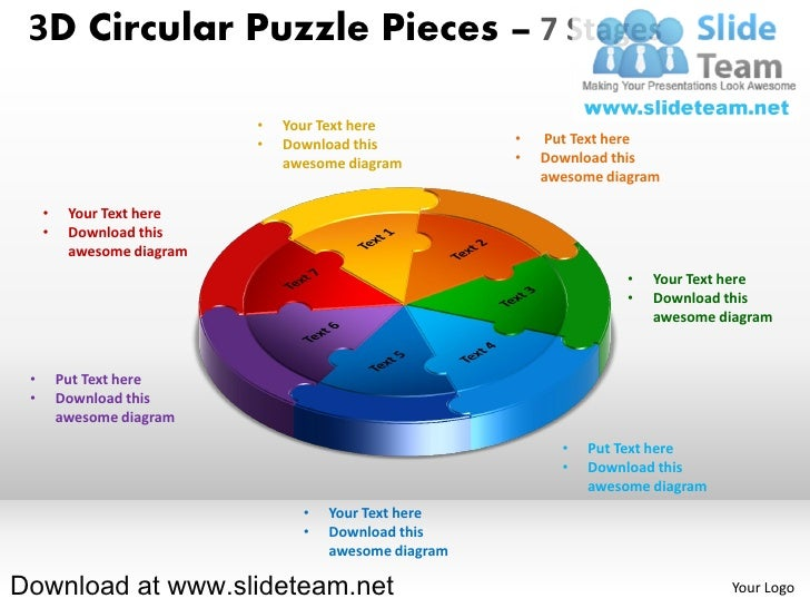 3D Circular Puzzle Pieces – 7 Stages                            •   Your Text here                            •   Download...