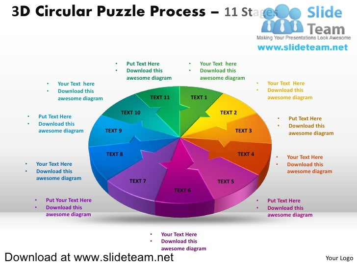 3D Circular Puzzle Process – 11 Stages                                          •     Put Text Here            •   Your Te...