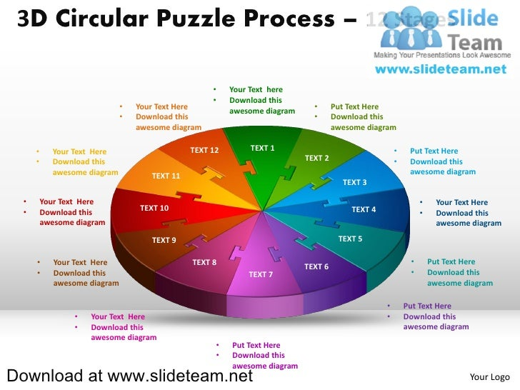 3D Circular Puzzle Process – 12 Stages                                                    •    Your Text here             ...