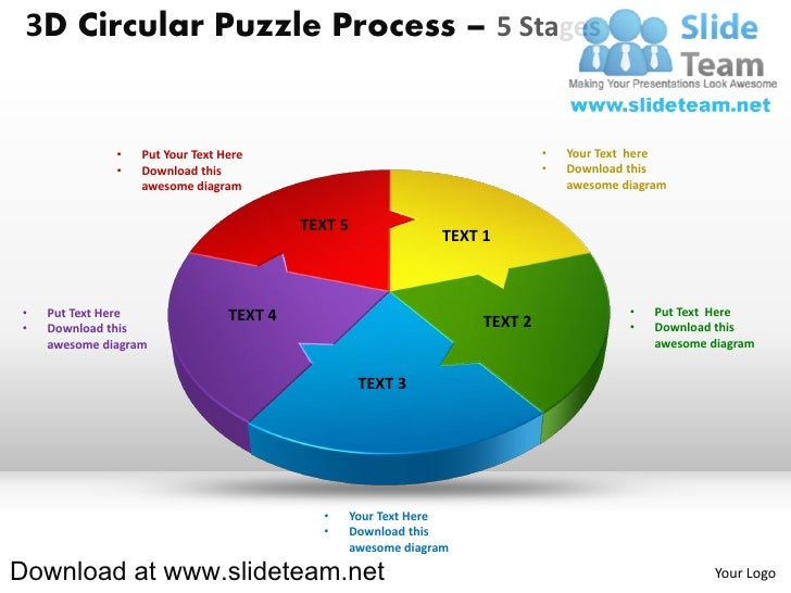 3D Circular Puzzle Process – 5 Stages              •   Put Your Text Here                                          •   You...
