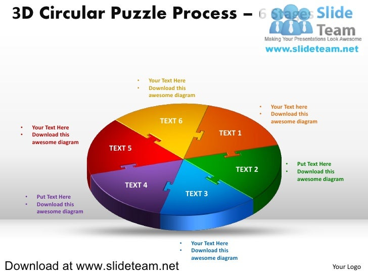 3D Circular Puzzle Process – 6 Stages                                      •   Your Text Here                             ...