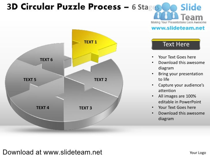 3 d pie chart circular puzzle with hole in center process 6 stages style 2 powerpoint presentation slides and ppt templates Slide 2