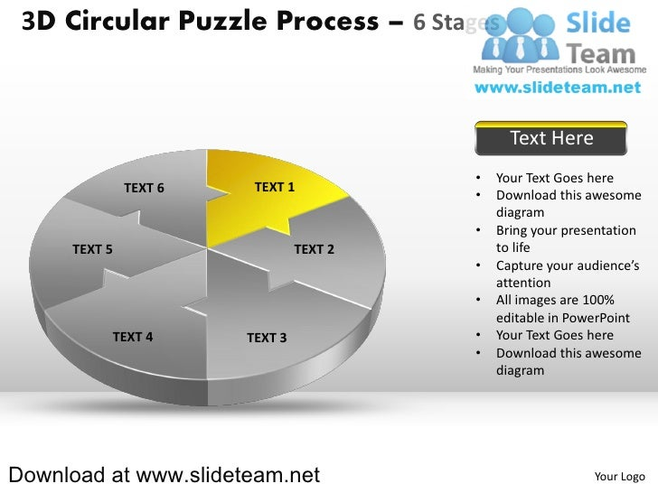 3 d pie chart circular puzzle with hole in center process 6 stages style 2 powerpoint presentation slides and ppt templates Slide 3