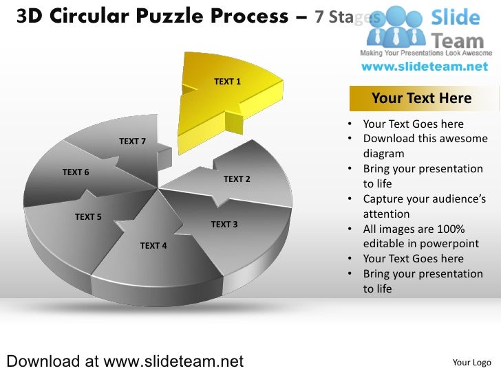 3 d pie chart circular puzzle with hole in center process 7 stages style 2 powerpoint diagrams and powerpoint templates Slide 2