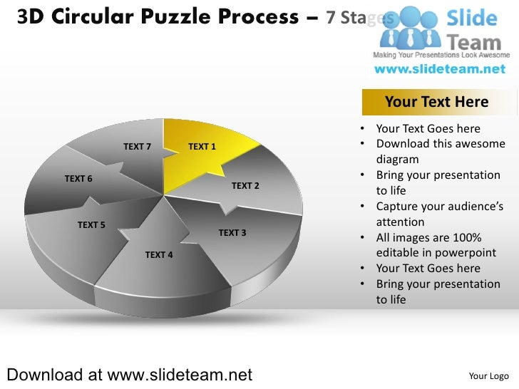 3 d pie chart circular puzzle with hole in center process 7 stages style 2 powerpoint diagrams and powerpoint templates Slide 3
