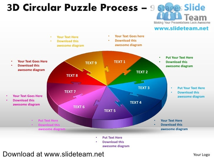 3D Circular Puzzle Process – 9 Stages                                  •   Your Text Here                •   Your Text Goe...