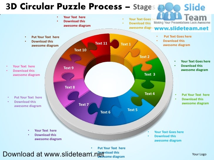 3D Circular Puzzle Process – Stages 11                                       •    Your Text here                          ...