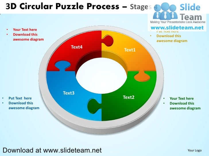 3D Circular Puzzle Process – Stages 4    •     Your Text here                       •   Put Text here    •     Download th...