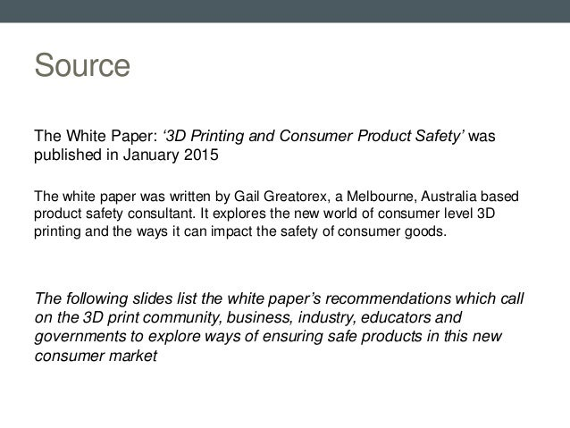 3D printing and consumer product safety recommendations Slide 2