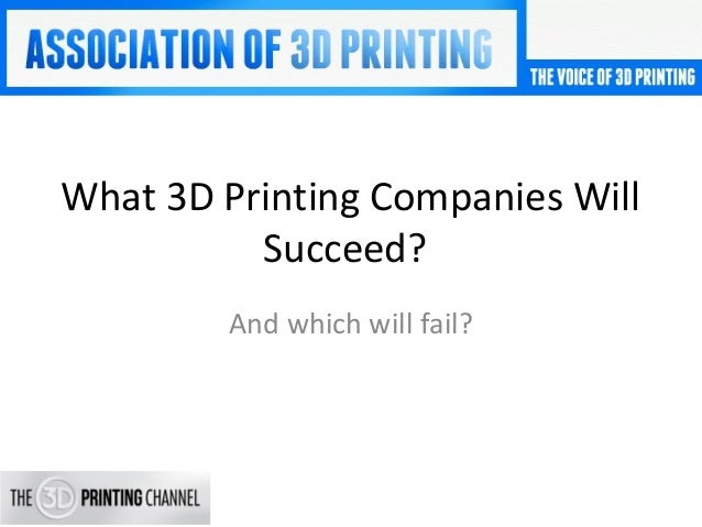 What 3D Printing Companies Will Succeed? And which will fail?