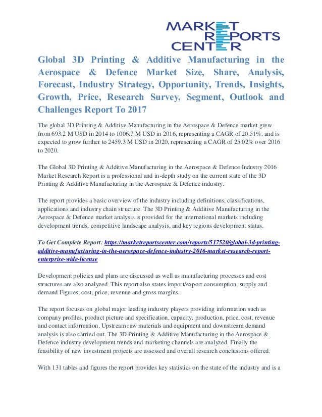 Global 3D Printing & Additive Manufacturing in the Aerospace & Defence Market Size, Share, Analysis, Forecast, Industry St...