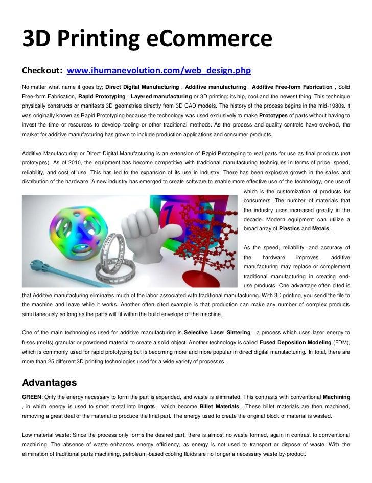 3D Printing eCommerceCheckout: www.ihumanevolution.com/web_design.phpNo matter what name it goes by; Direct Digital Manufa...