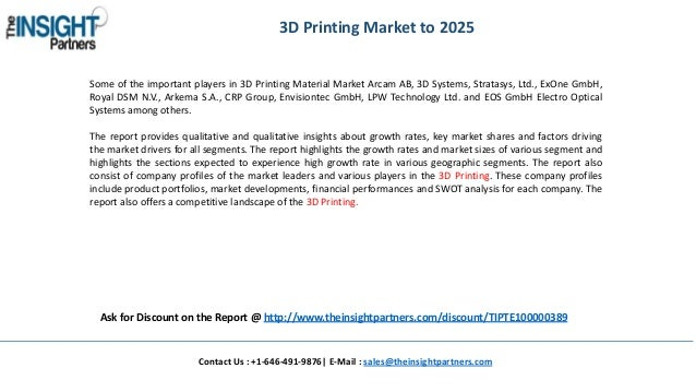 The Insight Partners Releases New Report on 3D Printing Market 2017-2…