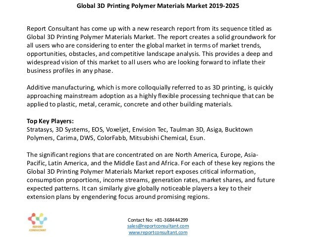 3D Printing Polymer Materials Market 2019