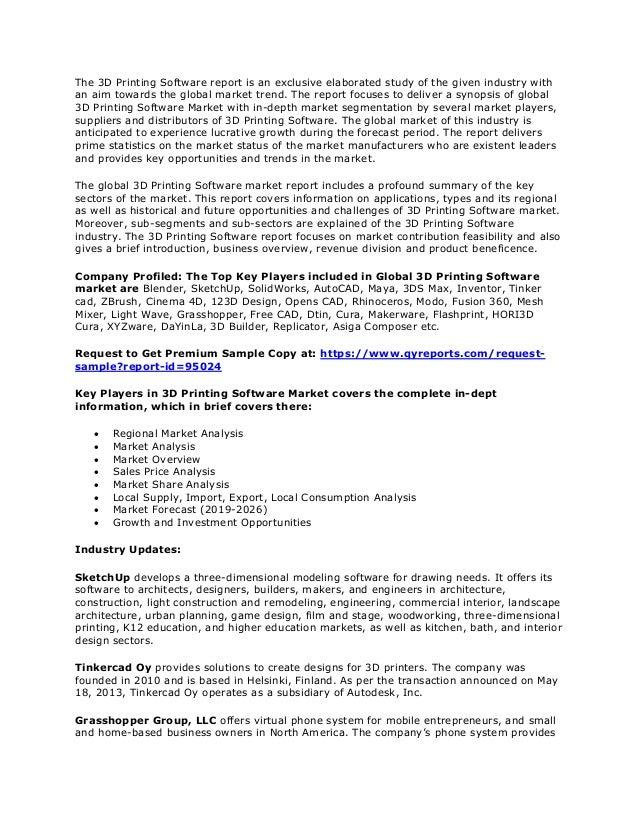 3 d printing software market