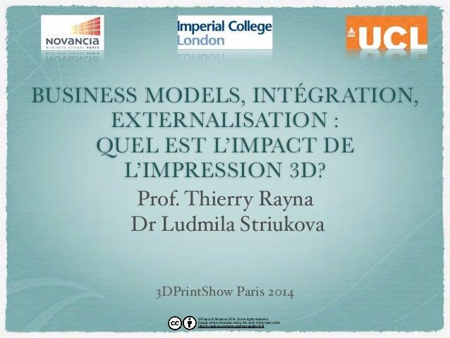 BUSINESS MODELS, INTÉGRATION,  EXTERNALISATION :  QUEL EST L'IMPACT DE  L'IMPRESSION 3D?  Prof. Thierry Rayna  Dr Ludmila ...