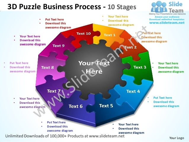 3D Puzzle Business Process - 10 Stages                                                 •   Your Text here                 ...