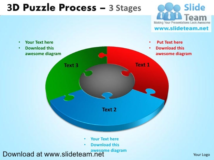 3 D Puzzle Pieces Connected Jigsaw 3 Stages Powerpoint Diagrams And