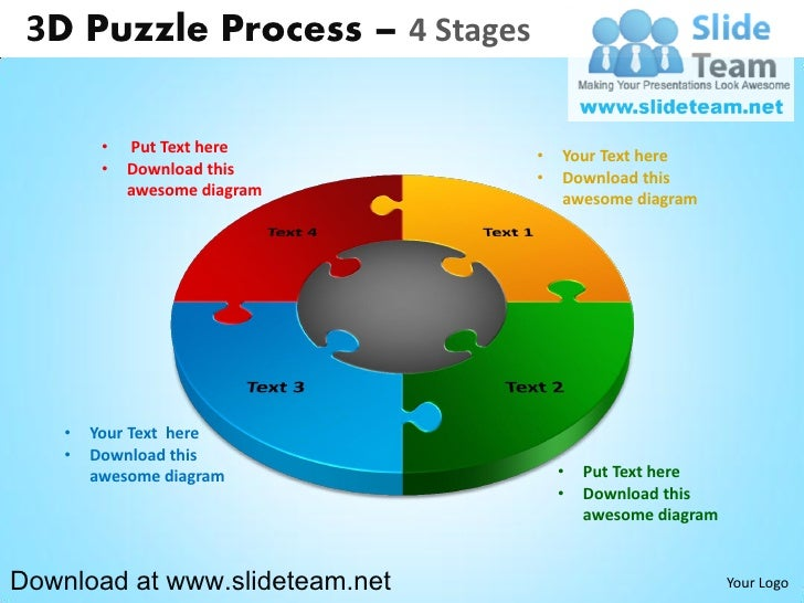 3 D Puzzle Pieces Connected Jigsaw 4 Stages Powerpoint Diagrams And