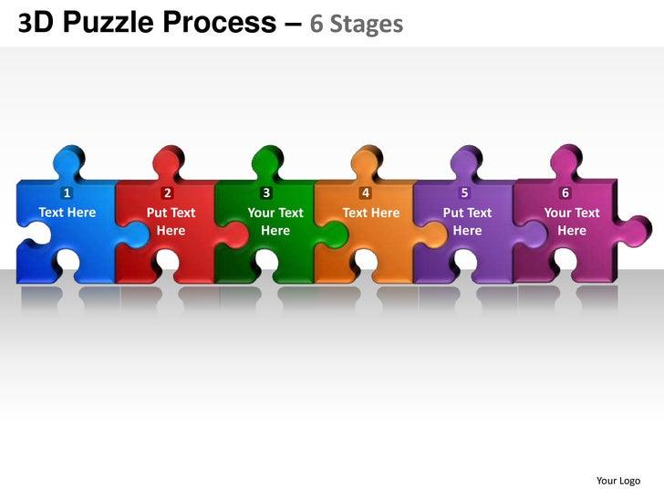 3d Puzzle Process 6 Stages Powerpoint Presentation Templates