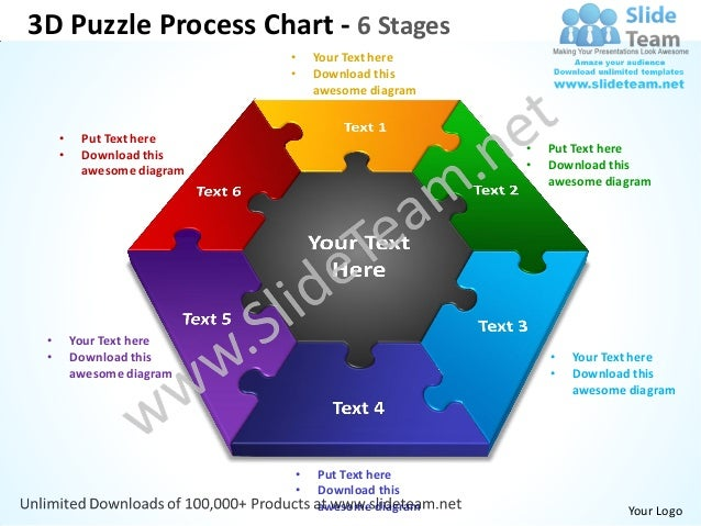 3D Puzzle Process Chart - 6 Stages                            •   Your Text here                            •   Download t...