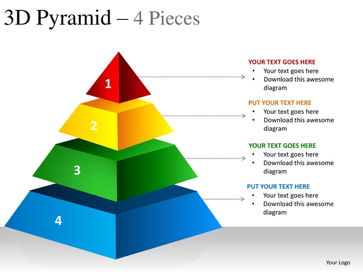 3d pyramid 4 pieces powerpoint presentation templates