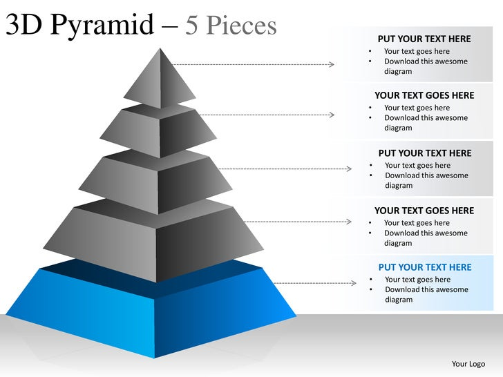 3d pyramid 5 pieces powerpoint presesntation templates, Powerpoint templates