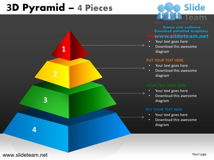 3d pyramid stacked shapes chart 4 pieces powerpoint ppt
